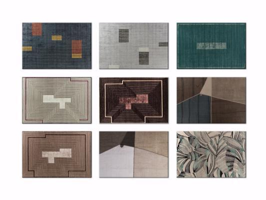 新中式几何撞色装饰地毯3D模型【ID:342529272】