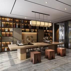 中式书房茶室空间茶室书柜书桌组合3D模型【ID:632754109】