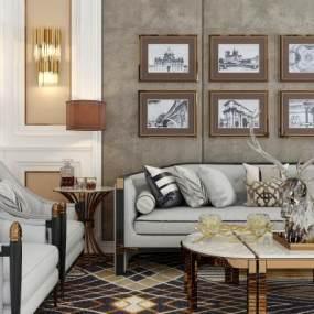 现代轻奢沙发茶几组合3D模型【ID:634690734】
