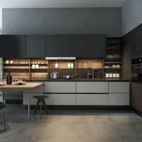 現代輕奢開放式廚房3D模型【ID:546932379】