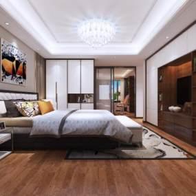 现代风卧室3D模型【ID:547164252】