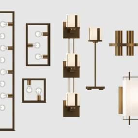 现代壁灯落地灯灯具组合3D模型【ID:735635926】