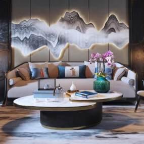 新中式沙发茶几组合3D模型【ID:632109770】