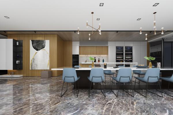 现代开放式厨房 橱柜 餐桌椅