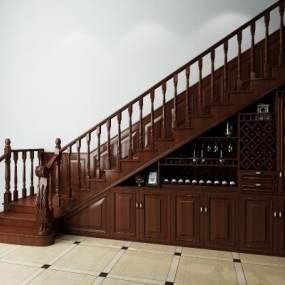 美式楼梯酒柜组合3D模型【ID:330985553】