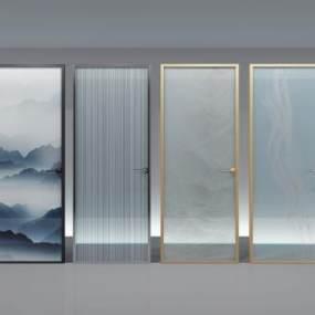 夹丝玻璃门现代轻奢门3D模型【ID:332983182】