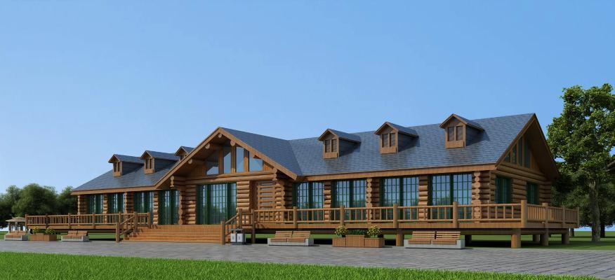 现代景区度假小木屋3D模型【ID:135614963】