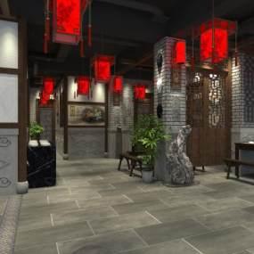 中式快餐餐厅3D模型【ID:643557263】