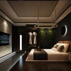 新中式酒店客房 3D模型【ID:741999343】