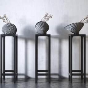 新中式貝殼禪意裝飾擺件3D模型【ID:252341596】