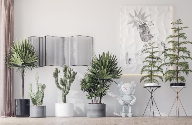 現代輕奢盆栽綠植組合3D模型【ID:249936874】