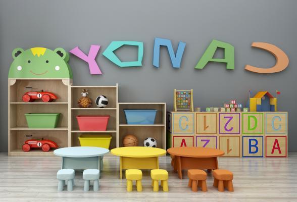 现代儿童桌椅装饰柜摆件玩具组合3D模型【ID:930558304】