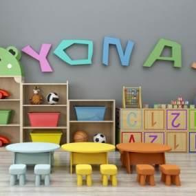 现代儿童桌椅装饰柜摆件玩具组合365彩票【ID:930558304】
