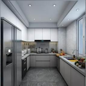 现代轻奢厨房橱柜3D模型【ID:532855331】