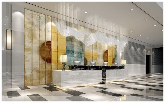 現代酒店吧臺3D模型【ID:745577750】