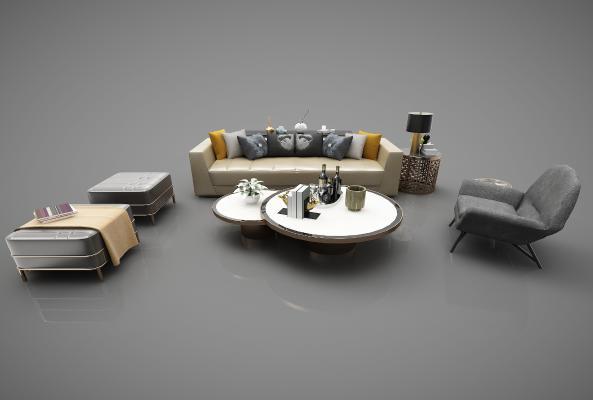 現代風格沙發茶幾組合3D模型【ID:653474761】