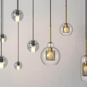现代玻璃球吊灯3D模型【ID:732149846】