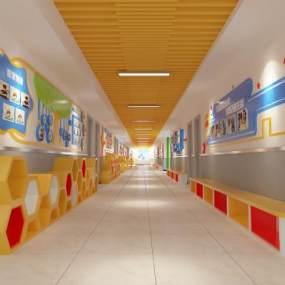 现代学校楼道文化3D模型【ID:933643653】