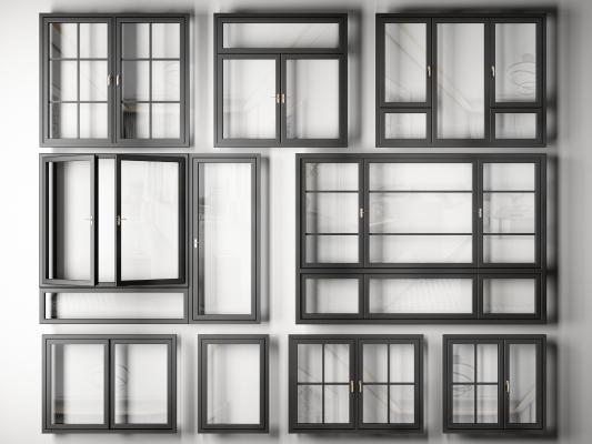 現代鋁合金窗戶組合3D模型【ID:346535287】