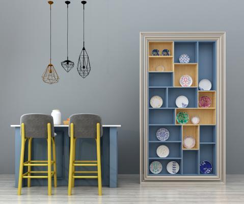 北欧吧台吧椅吊灯装饰柜组合3D模型【ID:930489205】