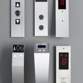 现代不锈钢电梯开关组合3D模型【ID:332126387】