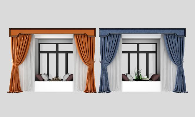 現代飄窗窗簾組合3D模型【ID:342398200】
