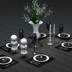 现代风格餐具3D模型【ID:644878315】
