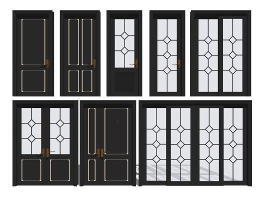 现代单开门双开门组合SU模型【ID:147469973】