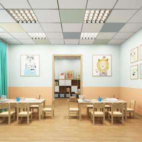 现代幼儿园教室3D模型【ID:953435616】