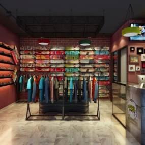 工業風滑板店3D模型【ID:148050209】