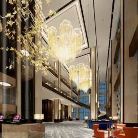 新中式酒店大厅3D模型【ID:734503014】