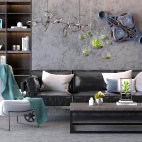 现代工业风沙发茶几组合3D模型【ID:633038769】
