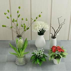 现代盆栽植物3D模型【ID:233208853】
