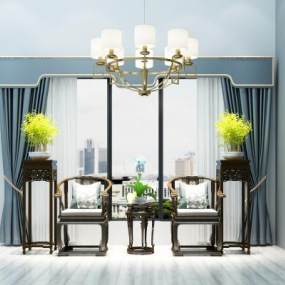新中式太师椅窗帘吊灯组合3D模型【ID:730631706】