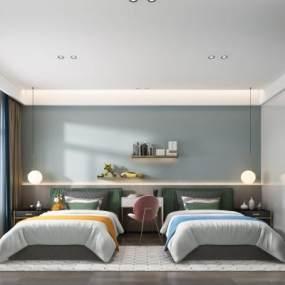 现代卧室3D模型【ID:548798247】