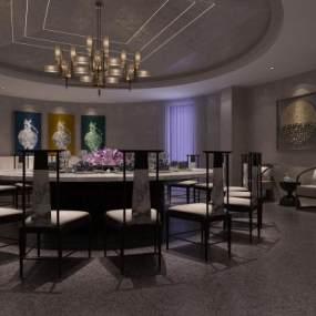 新中式酒店大包间3D模型【ID:642169651】