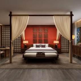 中式酒店客房组合3D模型【ID:735451326】