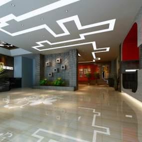 现代酒店前台3D模型【ID:734469741】