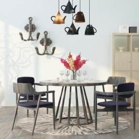 现代简约餐桌椅组合3D模型【ID:835804899】