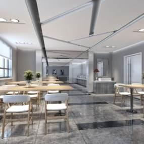 現代簡約餐廳3D模型【ID:648882289】