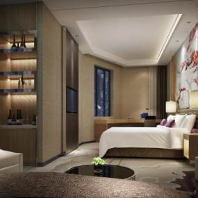 新中式酒店单标大床客房3D模型【ID:747408396】