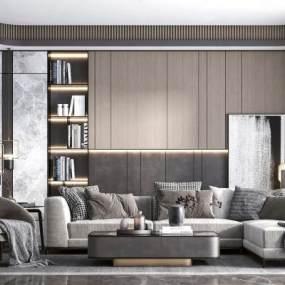 现代轻奢布艺转角沙发3D模型【ID:644541747】