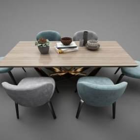 现代风格餐桌3D模型【ID:852648866】
