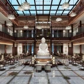 中式圖書館3D模型【ID:946107880】