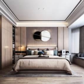 现代轻奢卧室3D模型【ID:549335280】