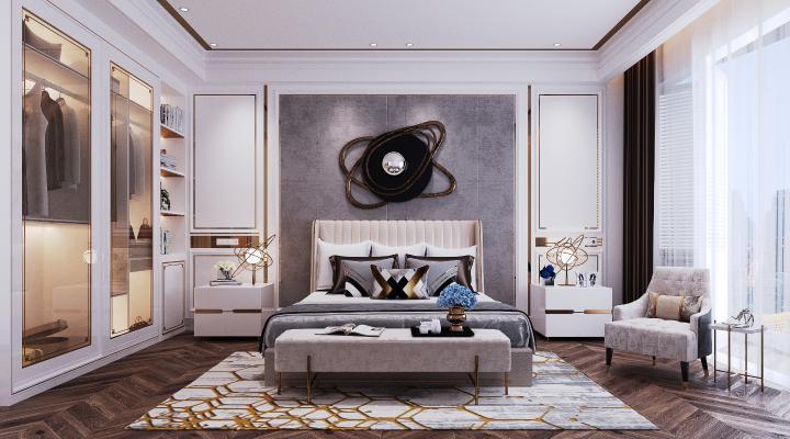 现代轻奢卧室3D模型【ID:545835238】