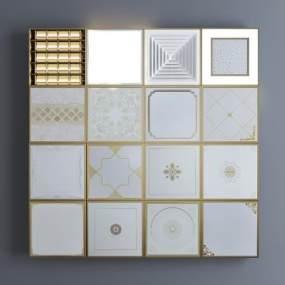 现代金属铝扣板矿棉板集成吊顶组合3D模型【ID:332129339】