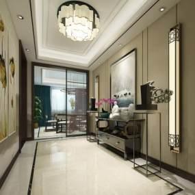 新中式家居玄关3D模型【ID:634706084】