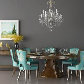 美式餐桌椅组合 3D模型【ID:841652840】