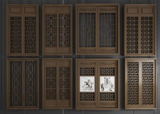新中式實木花格雕花窗戶3D模型【ID:341984225】